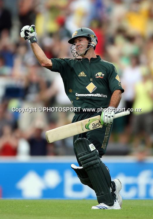 Australian captain Ricky Ponting celebrates his century innings. Chappell Hadlee Trophy - Match. Bellerive Oval, Hobart, Australia. <br />Thursday 20 December 2007. <br />Photo: Andrew Cornaga/PHOTOSPORT