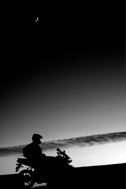 The One<br /> The moon watches over the lonely R1 rider at sunset in Shimla, India