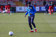 Forest Green Rovers Dale Bennett(2) warming up during the EFL Sky Bet League 2 match between Accrington Stanley and Forest Green Rovers at the Wham Stadium, Accrington, England on 17 March 2018. Picture by Shane Healey.