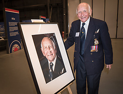 Bernard Carton (right) with a portrait of himself by photographer Mike Stone at Hidden Heroes, an event celebrating the part played by Jewish volunteers in the Royal Air Force during World War Two, at the RAF Museum in London. The event is part of celebrations to mark the centenary of the RAF. Photo date: Thursday, November 15, 2018. Photo credit should read: Richard Gray/EMPICS