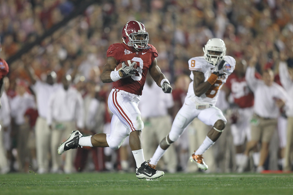 PASADENA,CA - JANUARY 07:  Trent Richardson #3 of the Alabama Crimson Tide for a 49 yard touchdown against the Texas Longhorns. The Crimson Tide defeated the Longhorns 37-21 in the BCS National Championship game on January 7, 2010 at the Rose Bowl in Pasadena, CA. Photo by Tom Hauck.