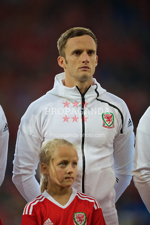 CARDIFF, WALES - Monday, September 5, 2016: Wales' Andy King lines-up before the 2018 FIFA World Cup Qualifying Group D match against Moldova at the Cardiff City Stadium. (Pic by David Rawcliffe/Propaganda)