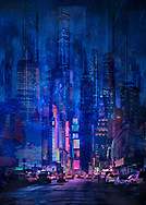 Painterly rendition of a vivid blue nighttime cityscape with a wide street with cars leading into brightly lit Times Square against a background of soaring skyscrapers