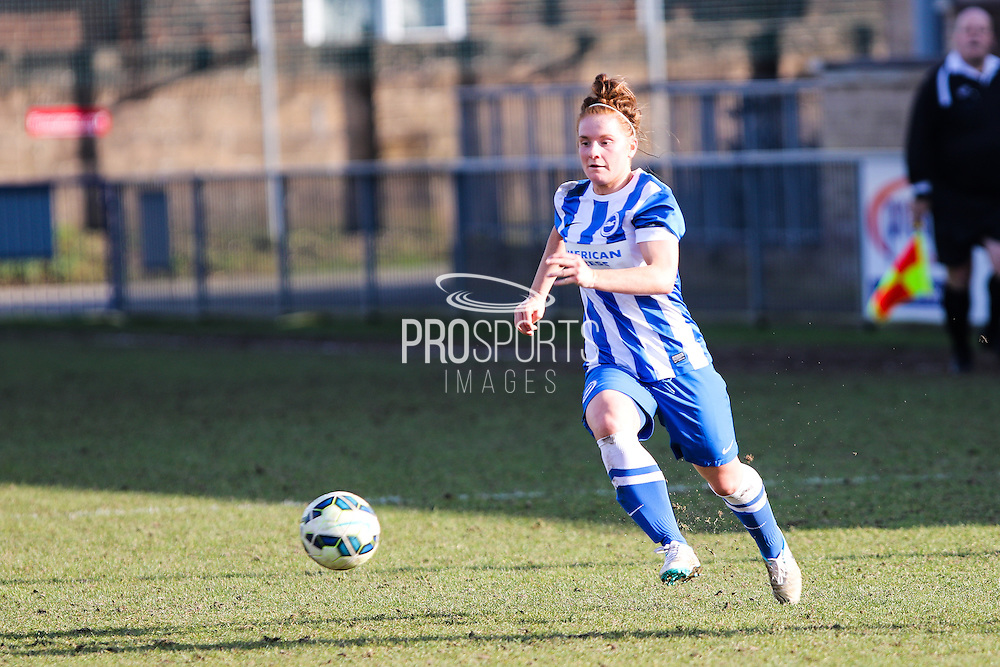 Fliss Gibbons on the ball during the FA Women's Sussex Challenge Cup semi-final match between Brighton Ladies and Hassocks Ladies FC at Culver Road, Lancing, United Kingdom on 15 February 2015. Photo by Geoff Penn.