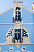 The ornate Museu Arte Nova - Modern Art Museum and Casa de Cha with traditional balconies - in Aveiro, Portugal