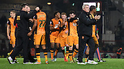 Steve Bruce leads the appluads to the fans after the Sky Bet Championship match between Brentford and Hull City at Griffin Park, London, England on 3 November 2015. Photo by Michael Hulf.