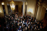Surrounded by media and friends, Stuart Gaffney and John Lewis marry at San Francisco's City Hall, in San Francisco, CA, on Tuesday, June 17, 2008. The couple has been together for 21 years.