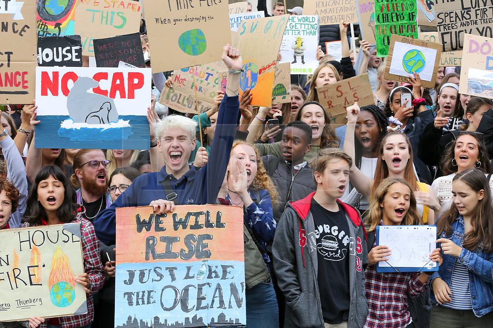 © Licensed to London News Pictures. 27/09/2019. London, UK. Hundreds of students of all ages carrying placards take part in general strike for climate justice protest in Trafalgar Square calling the UK Government to tackle climate change a priority. Photo credit: Dinendra Haria/LNP