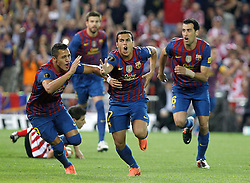 25.05.2012, Vicente Calderon Stadion, Madrid, ESP, Kings Cup Finale, FC Barcelona vs Athletic Bilbao, im Bild Barcelona's Pedro Rodriguez celebrates with Alexis Sanchez and Sergio Busquets // during the Spanish Kings Cup final match between Fc Barcelona and Athletic Bilbao at the Vicente Calderon Stadium, Madrid, Spain on 2012/05/25. EXPA Pictures © 2012, PhotoCredit: EXPA/ Alterphotos/ Alvaro Hernandez..***** ATTENTION - OUT OF ESP and SUI *****