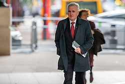 © Licensed to London News Pictures. 03/11/2019. London, UK. Shadow Chancellor of the Exchequer John McDonnell arrives at the BBC. Later he will appear on the Andrew Marr Show. Photo credit: George Cracknell Wright/LNP