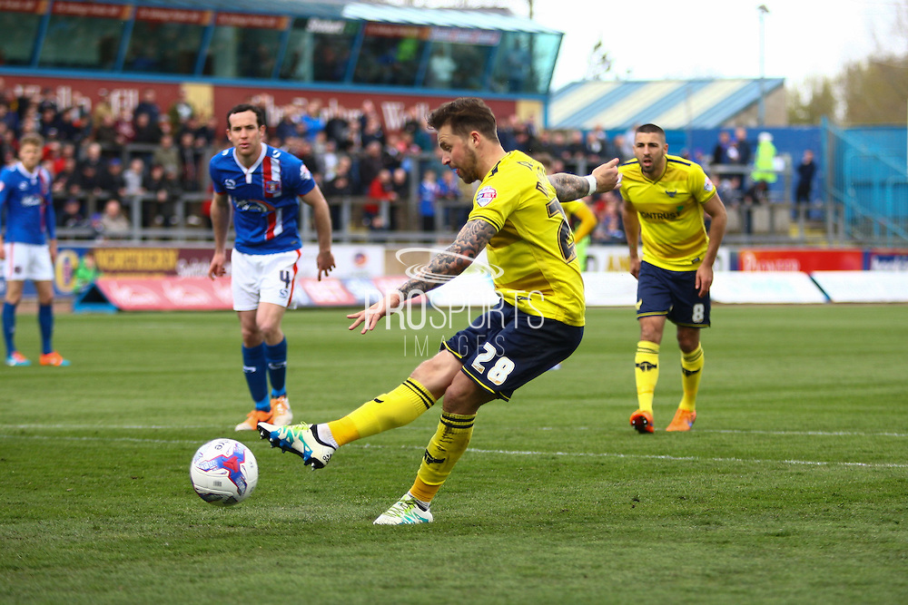 Oxford forward Chris Maguire taking the penalty during the Sky Bet League 2 match between Carlisle United and Oxford United at Brunton Park, Carlisle, England on 30 April 2016. Photo by Craig McAllister.