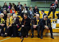 © Licensed to London News Pictures. 01/03/2013. Eastleigh, UK Supporters wait for the results. Ballot boxes begin to arrive at the count centre at  Fleming Park Leisure Centre in Eastleigh this evening. The voters of Eastleigh vote to choose a new MP in a by-election prompted by the resignation of former Lib Dem cabinet minister Chris Huhne. Polling will continued 22:00 GMT 28/02/13, with votes counted overnight on Thursday. There are 14 candidates in total on the ballot papers.. Photo credit : Stephen Simpson/LNP