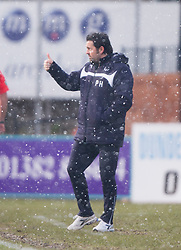 Dundee's manager Paul Hartley after their second goal. <br /> Dundee 4 v 1 Motherwell, SPFL Premiership played 10/1/2015 at Dundee's home ground Dens Park.