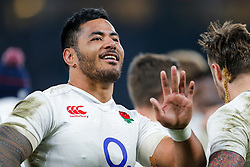 Replacement Manu Tuilagi is all smiles after England hang on to win the match 25-21 to lift the Triple Crown having beaten Scotland, Ireland and Wales in the 6 Nations - Mandatory byline: Rogan Thomson/JMP - 12/03/2016 - RUGBY UNION - Twickenham Stadium - London, England - England v Wales - RBS 6 Nations 2016.