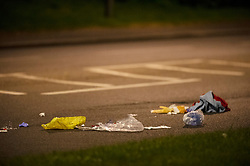 © Licensed to London News Pictures. 13/04/2019.<br /> Orpington, UK. Medical supplies on the road at the scene. A child is in a critical condition in hospital after being hit by a blue car in Orpington, South East London tonight. Traffic police are on scene with cordons in place on Court Road A224. Photo credit: Grant Falvey/LNP