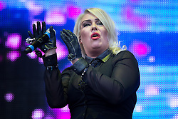 © Licensed to London News Pictures . 08/08/2015 . Siddington , UK . KIM WILDE on stage at The Rewind Festival of 1980s music , fashion culture at Capesthorne Hall in Macclesfield . Photo credit: Joel Goodman/LNP
