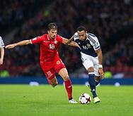4th September 2017, Hampden Park, Glasgow, Scotland; World Cup Qualification, Group F; Scotland versus Malta; Scotland's Craig Gordon\ races past Malta's Bjorn Kristensen