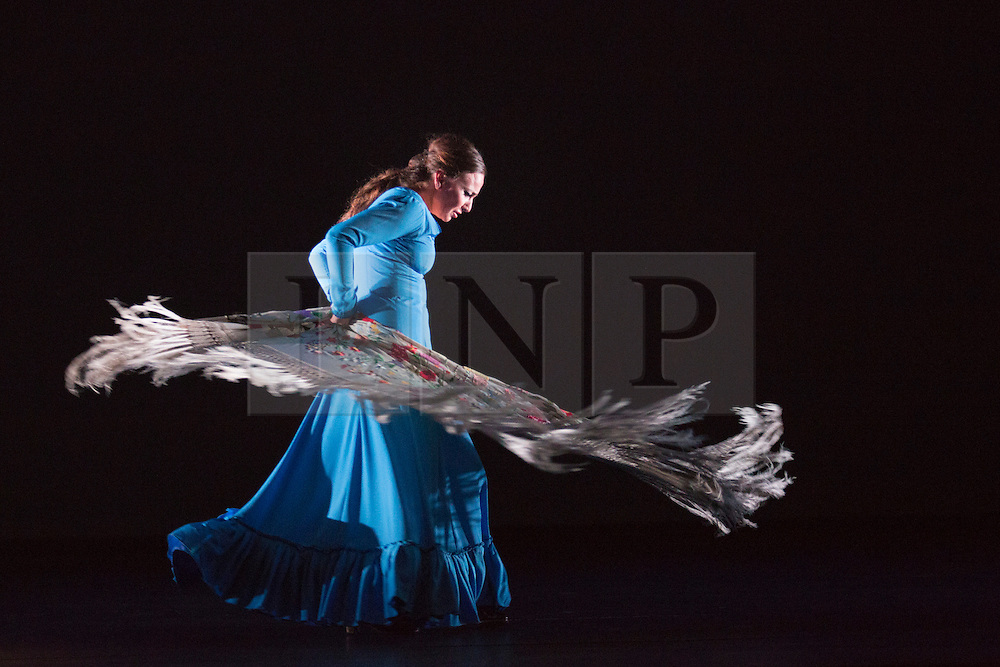 """© Licensed to London News Pictures. 23/06/2015. London, UK. Carmen Rivas """"La Talegona"""" performing Granaína. Paco Peña Dance Company perform the UK premiere of """"Flamencura"""" at Sadler's Wells Theatre. The flamenco show runs from 20 to 28 June 2015 and features six musicians and three dancers.Photo credit: Bettina Strenske/LNP"""