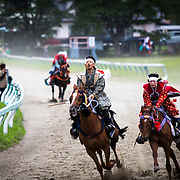 "MINAMISOMA, JAPAN - JULY 23 : A samurai horseman take part in the Yoinori Horse Race (pre-event) to purify the riding ground during the first day of Soma Nomaoi festival at Hibarigahara field on Saturday, July 23, 2016 in Minamisoma, Japan. ""Soma-Nomaoi"" is a 3 day traditional festival that recreates a samurai battle scene from more than 1,000 years ago. (Photo: Richard Atrero de Guzman/NURPhoto)"