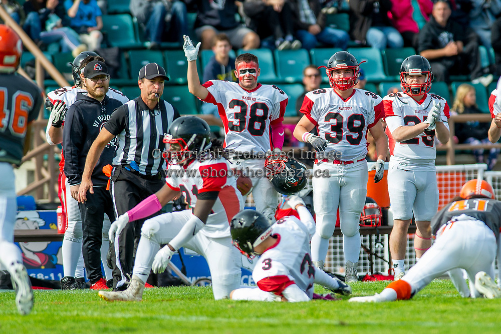 KELOWNA, BC - OCTOBER 6:  Nathan Cayouette #38 of the VI Raiders stands on the sidelines in face makeup against the Okanagan Sun BCFC regular season at the Apple Bowl on October 6, 2019 in Kelowna, Canada. (Photo by Marissa Baecker/Shoot the Breeze)