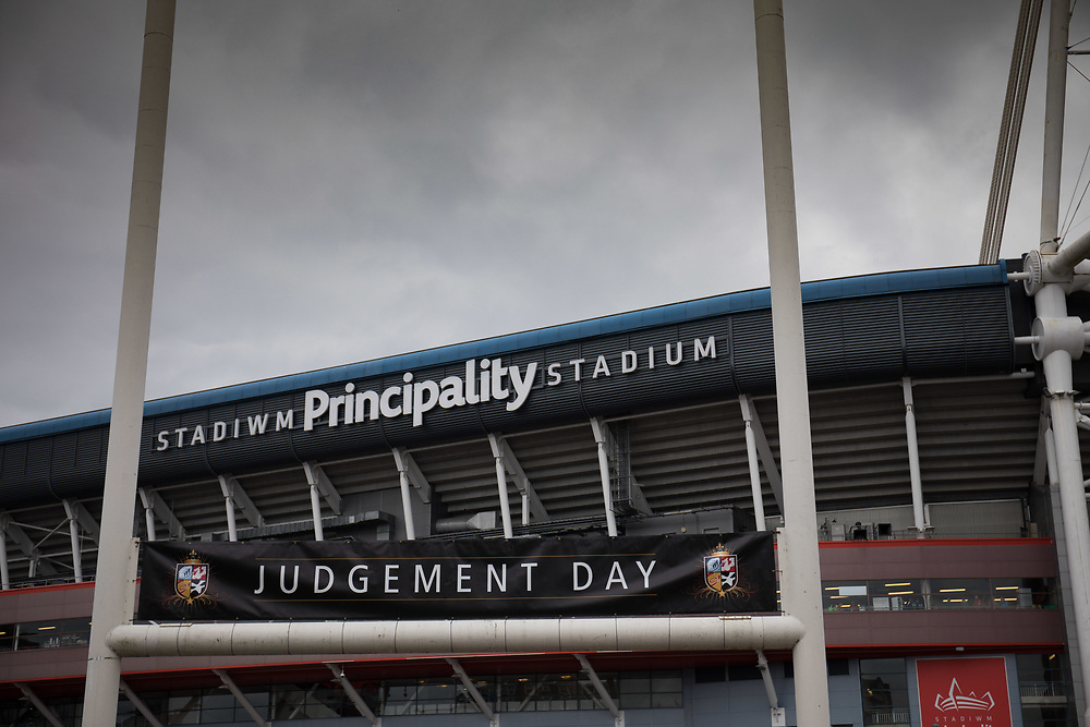 Judgement Day branding outside of the stadium<br /> <br /> Photographer Simon King/Replay Images<br /> <br /> Guinness PRO14 Round 21 - Dragons v Scarlets - Saturday 28th April 2018 - Principality Stadium - Cardiff<br /> <br /> World Copyright © Replay Images . All rights reserved. info@replayimages.co.uk - http://replayimages.co.uk