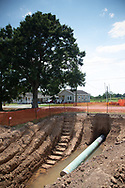 A section of the Bayou Bridge Pipeline installed under a road near two homes in Youngsville, Louisiana.