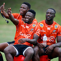 Aphelele Fassi with Sanele Nohamba and Madosh Tambwe of the Cell C Sharks during the Cell C Sharks training session from theBox Hill Rugby Union Football Club  RHL Sparks Reserve, Canterbury Rd & Middleborough Road, Box Hill VIC 3128. Melbourne,Australia 18 February 2020. (Photo Steve Haag Sports -Hollywoodbets)