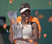 KEY BISCAYNE, FL - MARCH 31: Sloane Stephens (USA) defeats Jelena Ostapenko (LAT) for the Championship on day 13 of the 2018 Miami Open held at the Crandon Park Tennis Center on March 31, 2018 in Key Biscayne, Florida. (Photo by Andrew Patron/Icon Sportswire)