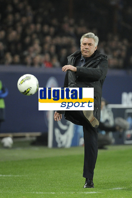 FOOTBALL - FRENCH CUP 2011/2012 - 1/4 FINAL - PARIS SAINT GERMAIN v OLYMPIQUE LYONNAIS - 21/03/2012 - PHOTO JEAN MARIE HERVIO / REGAMEDIA / DPPI - CARLO ANCELOTTI (COACH PSG)