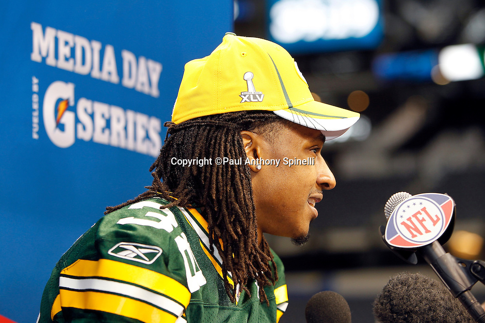 Green Bay Packers cornerback Tramon Williams (38) speaks to the press at Super Bowl XLV media day prior to NFL Super Bowl XLV against the Pittsburgh Steelers. Media day was held on Tuesday, February 1, 2011 in Arlington, Texas. ©Paul Anthony Spinelli