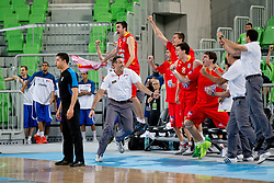 Team Spain celebrate victory during basketball match between National teams of Serbia and Spain in for third place match of U20 Men European Championship Slovenia 2012, on July 22, 2012 in SRC Stozice, Ljubljana, Slovenia. Spain defeated Serbia 67:66. (Photo by Matic Klansek Velej / Sportida.com)