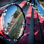 A bass drum from the Santa Ana High School marching band reflects action from Fullerton College va Santa Ana College on November 8, 2014 in Santa Ana, CA. Fullerton College won 30-23.