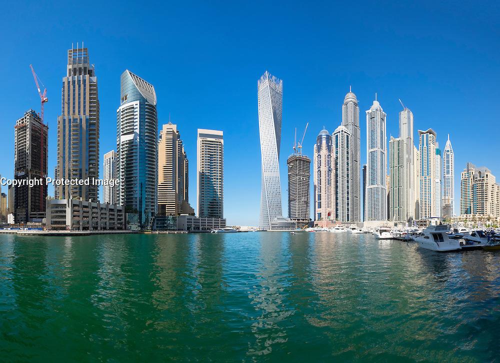 Daytime skyline of skyscrapers in Marina District of Dubai United Arab Emirates