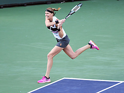March 9, 2019 - Indian Wells, CA, U.S. - INDIAN WELLS, CA - MARCH 09: Petra Kvitov‡ (CZE) hitting a backing from the corner of the court during  her 2nd round women's singles match at the BNP Paribas Open on March 09, 2019, played at the Indian Wells Tennis Garden in Indian Wells, CA.  (Photo by Cynthia Lum/Icon Sportswire) (Credit Image: © Cynthia Lum/Icon SMI via ZUMA Press)