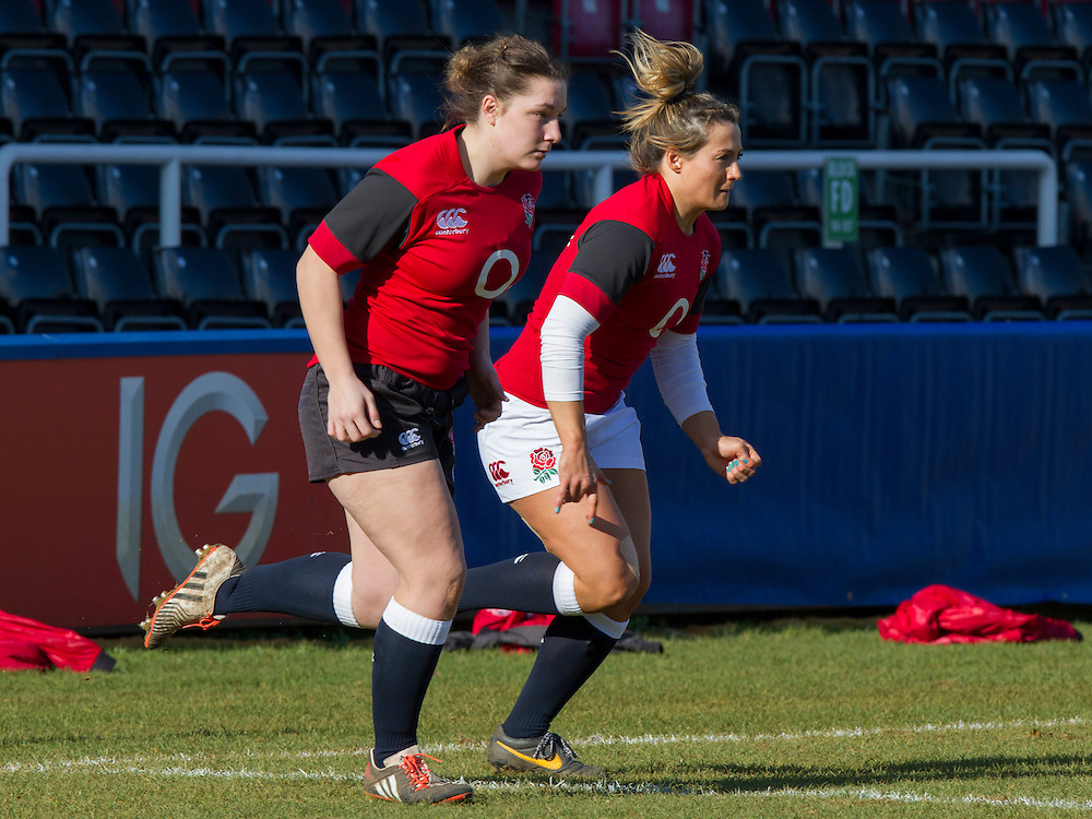Amy Cokayne and Victoria Fleetwood warm up, England Women v Italy Women in Women's 6 Nations Match at Twickenham Stoop, Twickenham, England, on 15th February 2015. Final score 39-7.