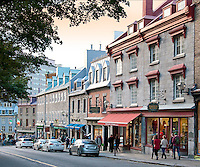 Stone buildings created in the late 1600s line the historic street of Cote de la Fabrique in Vieux Quebec City.