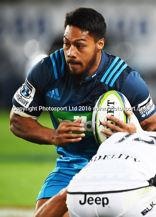 George Moala. Blues v Sharks Super Rugby match at Eden Park in Auckland, New Zealand. Saturday 16 April 2016. Copyright Photo: Andrew Cornaga / www.Photosport.nz
