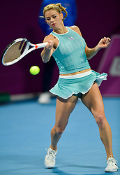 DOHA, Feb. 13, 2019  Camila Giorgi of Italy returns the ball during the women's singles first round match between Kiki Bertens of the Netherlands and Camila Giorgi of Italy at the 2019 WTA Qatar Open in Doha, Qatar, on Feb. 12, 2019. Camila Giorgi lost 1-2. (Credit Image: © Nikku/Xinhua via ZUMA Wire)