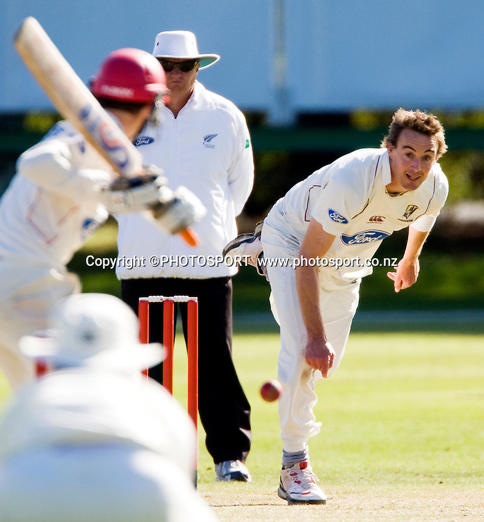 Graeme Aldridge bowling for the Northern Knights during play on day three. Canterbury Wizards v Northern Knights, Plunket Shield Game held at Mainpower Oval, Rangiora, Wednesday 06 April 2011. Photo : Joseph Johnson / photosport.co.nz
