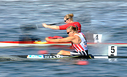 TINA DIETZE (GERMANY) COMPETES IN WOMEN'S K1 RELAY 200 METERS QUALIFICATION RACE DURING 2010 ICF KAYAK SPRINT WORLD CHAMPIONSHIPS ON MALTA LAKE IN POZNAN, POLAND...POLAND , POZNAN , AUGUST 22, 2010..( PHOTO BY ADAM NURKIEWICZ / MEDIASPORT ).