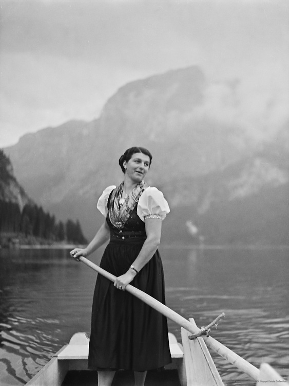 Woman with oar in costume, Austria, 1938