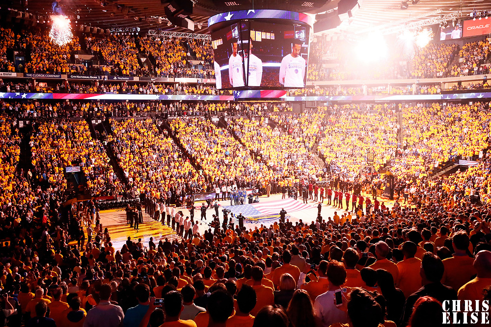 12 June 2017: General view of the Oracle Arena prior to the Golden State Warriors 129-120 victory over the Cleveland Cavaliers, in game 5 of the 2017 NBA Finals, at the Oracle Arena, Oakland, California, USA.