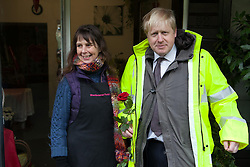 Mayor of London Boris Johnson talks to locals during a visit Kenley water treatment centre,  Kenley, Croydon, United Kingdom, Tuesday, 11th February 2014. Picture by Daniel Leal-Olivas / i-Images