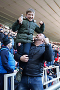 Middlesbrough fans celebrating the goal scored by Middlesbrough midfielder Lewis Wing (26)  during the EFL Sky Bet Championship match between Middlesbrough and Leeds United at the Riverside Stadium, Middlesbrough, England on 9 February 2019.