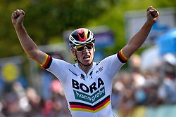 September 1, 2018 - Brussels, BELGIUM - German Pascal Ackermann of Bora-Hansgrohe celebrates as he crosses the finish line to win the 'Brussels Cycling Classic' cycling race, 201,4 km from and to Brussels, Saturday 01 September 2018. BELGA PHOTO DAVID STOCKMAN (Credit Image: © David Stockman/Belga via ZUMA Press)