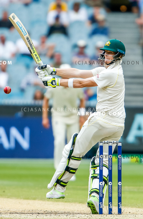 Steve Smith batting plays a pull shot during day 5 of the 2017 boxing day test.