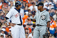 May 24, 2014; Detroit, MI, USA; Detroit Tigers designated hitter Victor Martinez (41) talks to Texas Rangers third baseman Adrian Beltre (29) during the sixth inning at Comerica Park. Mandatory Credit: Rick Osentoski-USA TODAY Sports