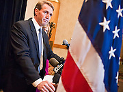 14 FEBRUARY 2011 - PHOENIX, AZ: US Congressman JEFF FLAKE and his wife CHERYL FLAKE at a press conference to announce that he is running for the US Senate seat being vacated by retiring US Sen. Jon Kyl before Flake's press conference in Phoenix, Monday, Feb.14. Congressman Flake has been in the US House of Representatives since 2001. He is considered a conservative Republican but supports loosening sanctions against Cuba and some form of comprehensive immigration reform. He represents a conservative neighborhood in Mesa, AZ, a suburb of Phoenix.   Photo by Jack Kurtz