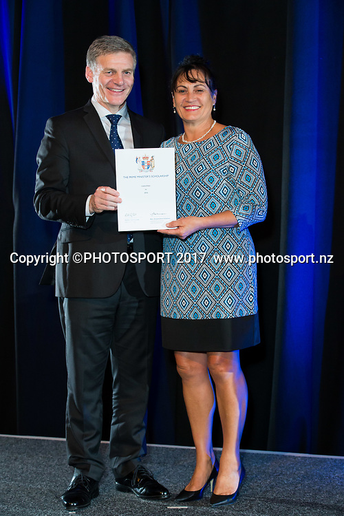 Mother of Leslie Elder with Rt Hon Bill English, 2017 Waikato Prime Minister's Scholarship Certificate Presentation Evening, Claudelands, Hamilton, New Zealand. Thursday 27 April 2017. © Copyright Photo: Stephen Barker / www.photosport.nz