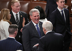United States House Minority Leader Kevin McCarthy (Republican of California) shares a light moment on the floor with his Republican colleagues prior to US President Donald J. Trump delivers his second annual State of the Union Address to a joint session of the US Congress in the US Capitol in Washington, DC, USA on Tuesday, February 5, 2019. Photo by Alex Edelman/CNP/ABACAPRESS.COM